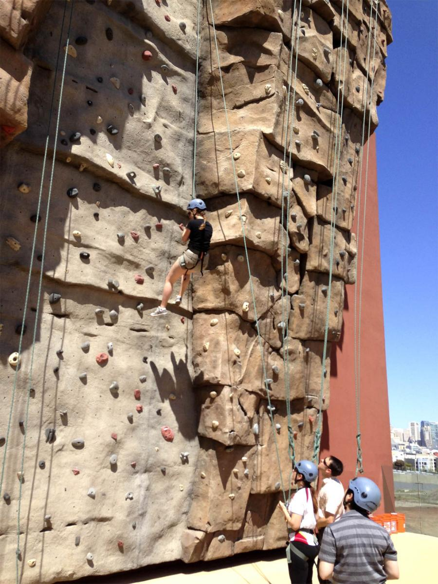 A Madison Clinic Transition Program outing at the UCSF Climbing Wall